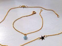 tiny flower bracelet gold plated chain light by LoveLittleDarling