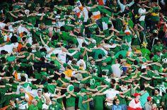 Irish fans celebrate during the UEFA EURO 2012 group C between Ireland and Croatia