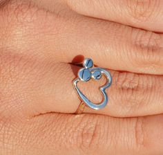 Mickey Mouse Ring - Heart Ring - Argentium Sterling Silver Ring.via Etsy.