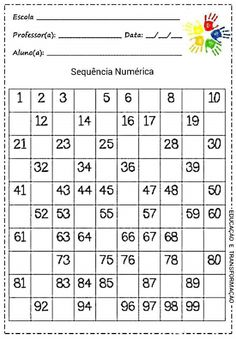 5 Best Images of Hundred Printable 100 Number Chart Partially Filled In - Free Hundred Printable 100 Chart, 100 Chart Fill in Missing Number Worksheet and Printable Fill in the Blank Hundreds Chart This page contains a lot of printable number charts up to Kindergarten Math Worksheets, School Worksheets, Teaching Math, Math Activities, Number Worksheets, Teaching Resources, Number Chart, 100 Chart, Hundreds Chart