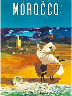 MOROCCO AFRICA MOROCCAN AFRICAN VINTAGE TRAVEL ADVERTISEMENT ART POSTER ❤ A SLICE IN TIME