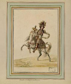 """Jean Berain (1640-1711) - """"Carrousel des Galans Maures de Grenade entrepris par Monseigneur le Dauphin à Versailles"""" (4-5 juin 1685) – Chevalier de la Brigade des Almoradis - Paris, Bibliothèque de l'Institut National d'Histoire de l'Art"""