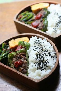 Japanese bento lunch with stuffed bell peppers ピーマンの肉詰め弁当