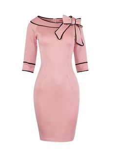 Vintage Bowknot Contrast Trim Bodycon Dress This would be cute in navy or green Color Block Bowknot Boat Neck Bodycon-Dress Cheap Dresses, Cute Dresses, Dresses For Work, Dress Work, Classy Dress, Pencil Dress, Dresses Online, Fashion Dresses, Bodycon Dress