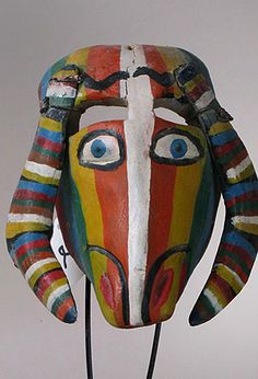 Colorful Chivo or Goat mask from Guerro, Mexico
