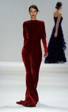 deep cherry red velvet gown