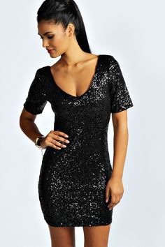 Hollie Sequin Short Sleeve Bodycon Dress at boohoo.com