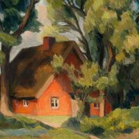 Bernhard Dörries  - In Kehdingen am Deich (Rotes Haus unter Laubbäumen)