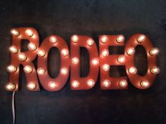 RODEO Western Lighted Marquee Sign made of Rusted Recycled Metal Vintage inspired Cowgirl Bedroom, Western Bedroom Decor, Western Rooms, Western Decor, Western Style, Into The West, Marquee Sign, The Ranch, My New Room