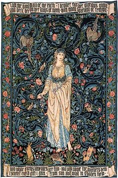 The Flora tapestry by William Morris and Edward Burne-Jones, 1885. Flora, goddess of abundance, personifies summer, standing barefoot in flowing garments with a wreath in her hair. She holds fresh flowers in her hand, with an intricate floral background. Inspired by the Medieval decorative technique known as Mille Fleurs (thousand flowers), it demonstrates the artists' admiration for pre-Renaissance art. The tapestry is also inscribed with verse, beautifully rendered in Gothic type