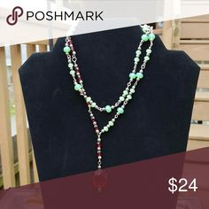 """Soft green and bright red Glass beads, 16"""". This can  be doubled or worn as one strand. Other"""
