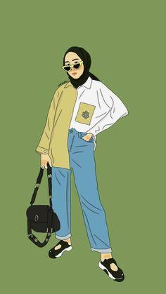 Cute Girl Wallpaper, Cartoon Wallpaper, Girl Cartoon, Cartoon Art, Cover Wattpad, Hijab Drawing, Islamic Cartoon, Anime Muslim, Hijab Cartoon