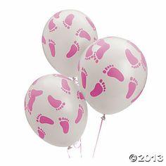 Pink Latex Baby Footprints Balloons