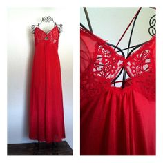 Vintage Maxi Slip // Cherry Red Lingerie Sz XS by RoryLaRueVintage, $21.00