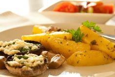 Ciuperci umplute cu brânză și cartofi la cuptor