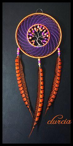 Attrape rêves et arbre de vie orange et violet