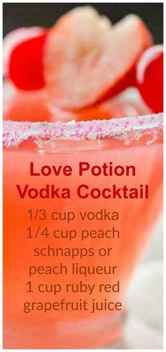 Love Potion Vodka Cocktail ~ vodka, peach schnapps and cherry/raspberry juice Liebestrank-Wodka-Cocktail ~ Wodka, Pfirsichschnaps und Kirsch- / Himbeersaft Drinks Cocktails Vodka, Liquor Drinks, Cocktail Drinks, Beverages, Peach Schnapps Drinks, Cocktail Recipes With Vodka, Easy To Make Cocktails, Vodka Martini, Juice Drinks