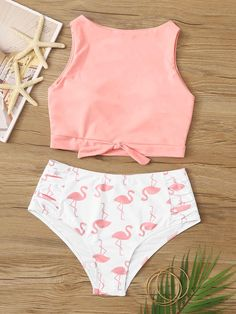 Product Name: Knot Front Top with Random Flamingo Print Bikini at SHEIN Kate Summer Bathing Suits Bikini Flamingo Front Kate Knot print Product Random SHEIN top Bathing Suits For Teens, Summer Bathing Suits, Cute Bathing Suits, Swimsuits For Big Thighs, Boutique Bathing Suits, Summer Outfits, Cute Outfits, Beach Outfits, Bandeau Bikini