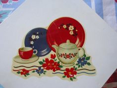 Retro Metal Napkin Holder, Decorated on both sides with Vintage Decal of Teapot, Teacup and Plates. Nice strong Red and Blue Colors Approx. Napkin Holders, White Paints, Vintage Metal, Canisters, Kitchen Accessories, Teapot, Tea Time, Red And Blue, Tea Cups
