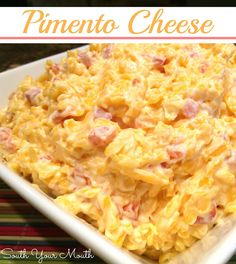 Cheese Pimento Cheese {adding this to my cheese board for the Christmas party for a little Southern sass!}Pimento Cheese {adding this to my cheese board for the Christmas party for a little Southern sass! Pimento Cheese Recipes, Cheddar Cheese, Pimiento Cheese, South Your Mouth, Southern Recipes, Southern Food, Southern Hospitality, Pasta, Appetizer Recipes