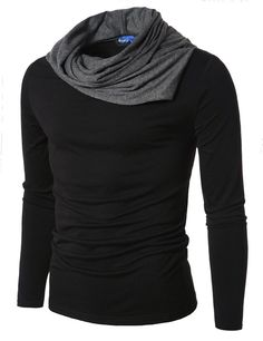 Doublju Mens Turtle Neck with Shirring Detail Black Small