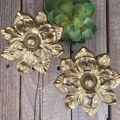 Set of two vintage, brass flower tiebacks window hardware flower shaped wall mounting vintage hardware boho style hollywood regency cottage by Atatteredtulip on Etsy