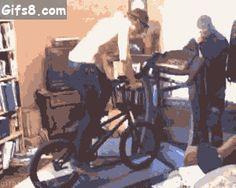 Ride a bike on a treadmill