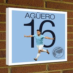 Square Canvas Wrap Soccer Art Print Sergio Kun Aguero Canvas Print - Manchester City - Argentina Soccer Poster wall decor, home decor, MCFC by Graphics17 on Etsy