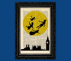 Flying Peter Pan Moon Silhouettes Art Print - Disney Poster Book Art Dorm Room Print Nursery Gift Print Wall Decor Poster Dictionary Print