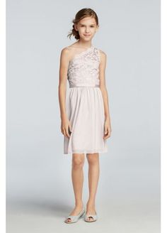 d56c402a3b5 David s Bridal Short One Shoulder Lace Dress With Lace Bodice JB9011  99.95  Wisteria Girls Bridesmaid Dresses