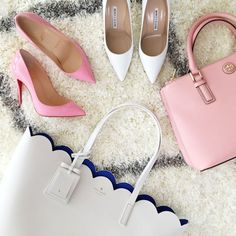 Louboutin pumps, Manolo Blahnik white pumps, Tory Burch pink Robinson mini, Kate Spade scalloped tote