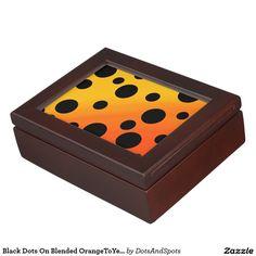 Black Dots On Blended OrangeToYellow Keepsake Box