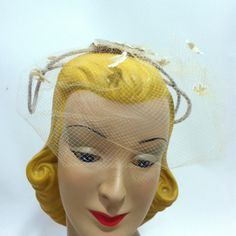 Whimsical Flock of Doves Veil and Bow Hat with Rhinestones circa 1960s - Dorothea's Closet Vintage