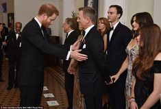 Harry and the Duke and Duchess of Cambridge meet the cast and crew before the screening at...
