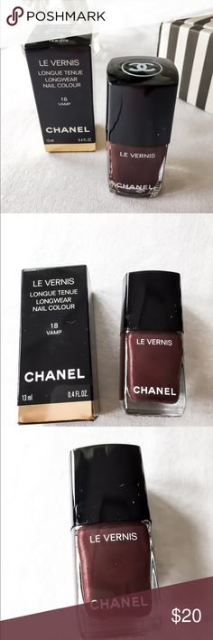 New Never Used Chanel Nail Polish in Vamp! New Never Used Chanel Nail Polish in Vamp! This dark red is so pretty! Never used in box! I don't really wear polish! Retail $28.00 CHANEL Makeup