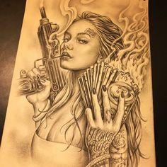 Chicano Tattoos Sleeve, Chicano Style Tattoo, Body Art Tattoos, Arte Cholo, Cholo Art, Chicano Drawings, Dark Art Drawings, Tattoo Design Drawings, Tattoo Designs