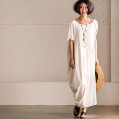 White loose cotton linen long dress