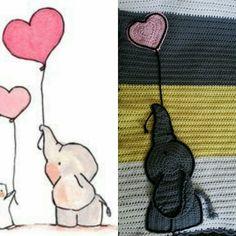 Adorable crocheted replica elephant applique