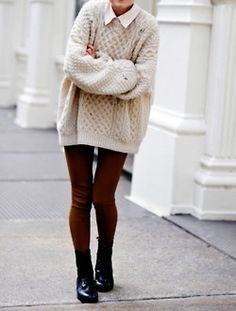 CABLE knit is so lush and really warm and easy for those cold days, you don't have to think about about layering up clothes just keep to simple with some doc's and skinny's.