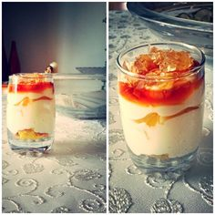 Almond's chantilly cream with caramel and moscato's jelly