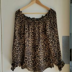 "Leopard Print Chiffon Long Sleeves Blouse Chic blouse, very soft chiffon. Only worn once, the blouse looks like new.  Measurement (approximately):  Bust: 36"" (90 cm) Length: 23"" (58 cm) Tops Blouses"