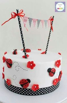 Little Ladybug Birthday -- Lady Bug Cake from Sweet & Snazzy Pretty Cakes, Cute Cakes, Beautiful Cakes, Amazing Cakes, Fondant Cakes, Cupcake Cakes, Owl Cupcakes, Fruit Cakes, Ladybird Cake