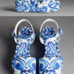Dolce & Gabbana Blue Majolica Accessories AW 2016: brocade Bianca wedges