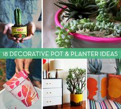 Nail Polish Planter, Wicked Cool -- For Debbie - Pink and Orange Planter -- Roundup: 18 DIY Planters, Pots and Other Decorative Ideas Indoor Planters, Diy Planters, Indoor Garden, Outdoor Gardens, Planter Pots, Planter Ideas, Decorative Planters, Letter Planter, Inside Plants