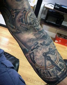 Tattoo Of Compass Mens