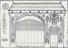 A MAGYARSÁG A MAG NÉPE: A méhek és a méz Wooden Gates, House Drawing, Natural Scenery, Ravenna, Vintage Embroidery, Silhouette Projects, Adult Coloring Pages, Designs To Draw, Line Drawing
