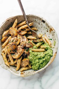 Simple Mushroom Penne with Walnut Pesto - made with easy ingredients like Parmesan cheese, whole wheat penne, mushrooms, garlic, and butter. LOVE this one! Vegetarian. AD EuroStyleButter | pinchofyum.com