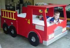 The fire truck bed is the ideal bed for the young fireman. This bed is truly built like a truck. It is built from birch plywood to handle even the