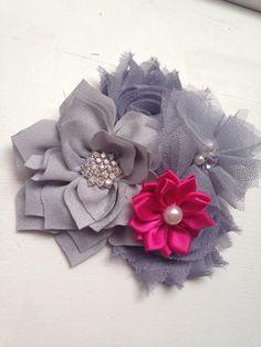 Grey Girls clip Grey lotus hot pink satin by LaBellaRoseBoutique