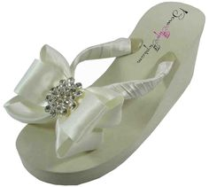 5e6dee874020a Amazon.com  Bridal Flip Flops Ivory White Wedge Womens Wedding Platform  Rhinestone Satin Bow